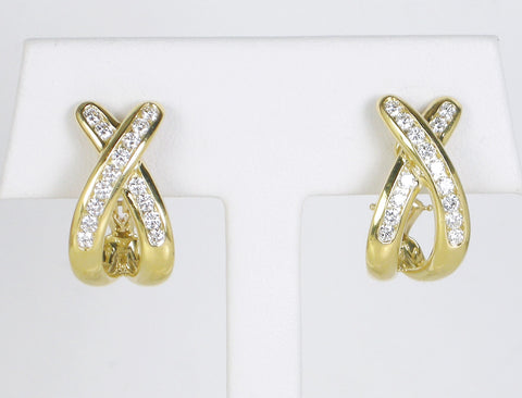 Diamond crisscross earrings by Suna Bros.