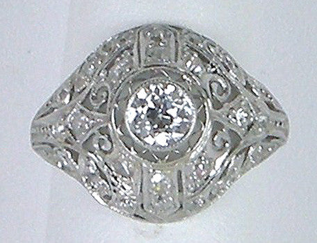 Edwardian platinum filigree ring