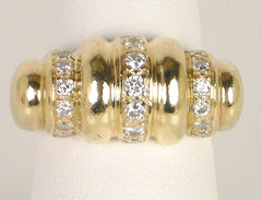 Ribbed gold and diamond ring