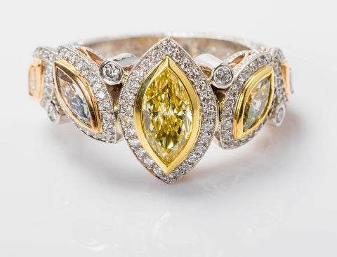 Fancy colored diamond ring by Beaudry