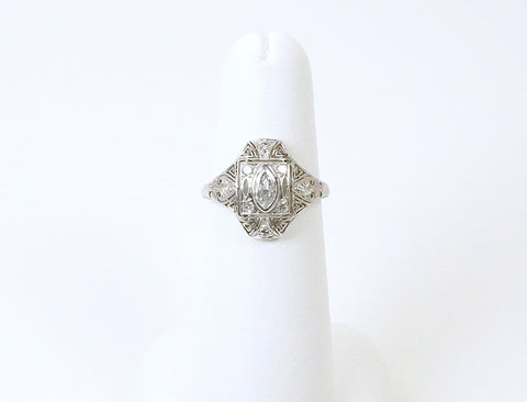 Edwardian ring with marquise diamond