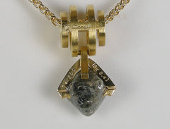 Diamond octahedron necklace