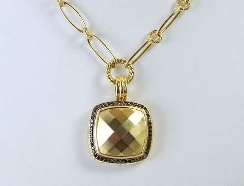 "Yurman ""Albion"" pendant with black diamonds"