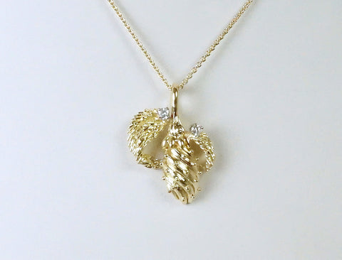 Seed pod and diamond necklace