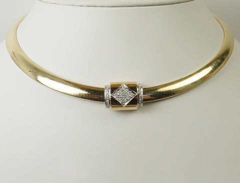 Diamond slide for omega necklace