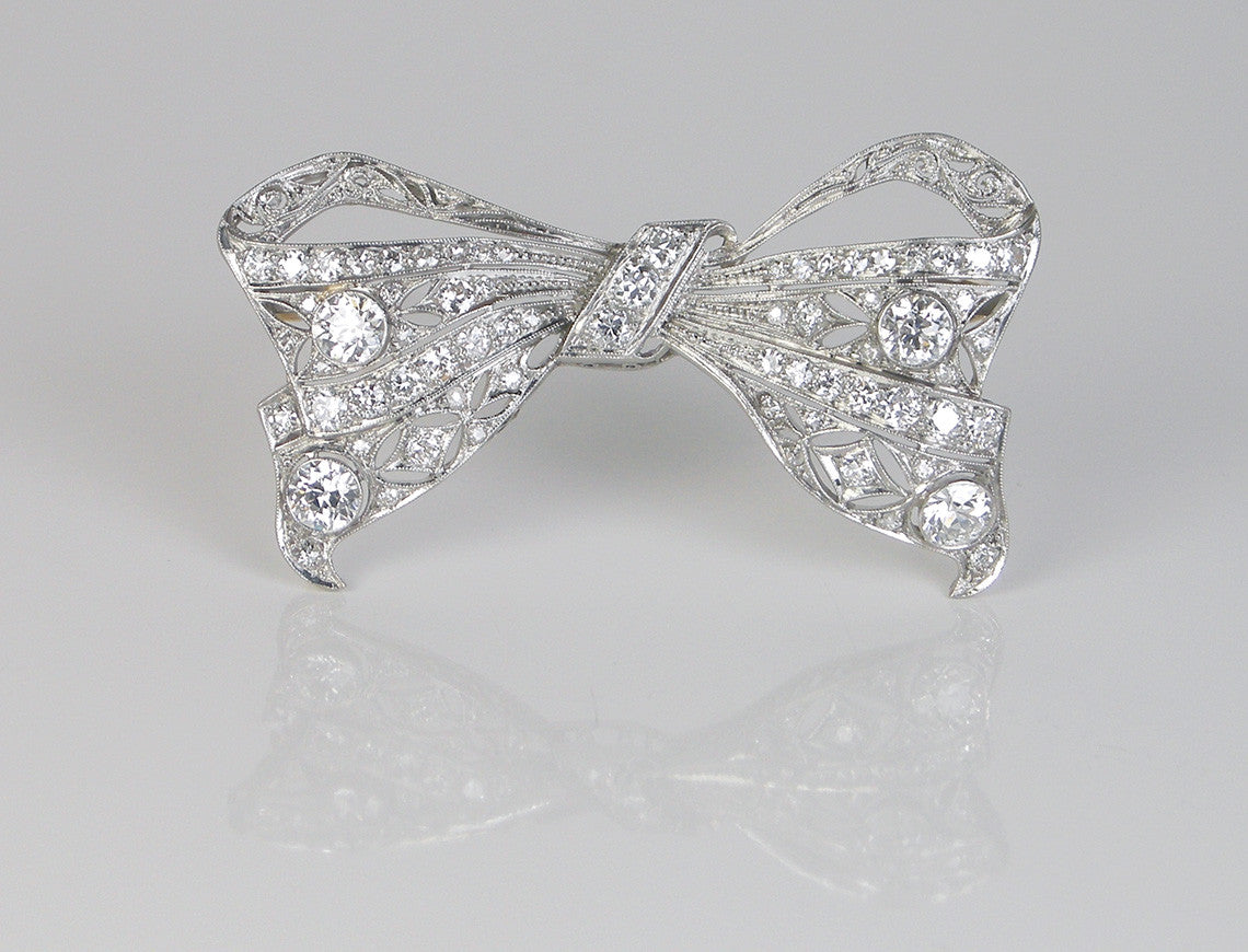 Edwardian platinum and diamond bow
