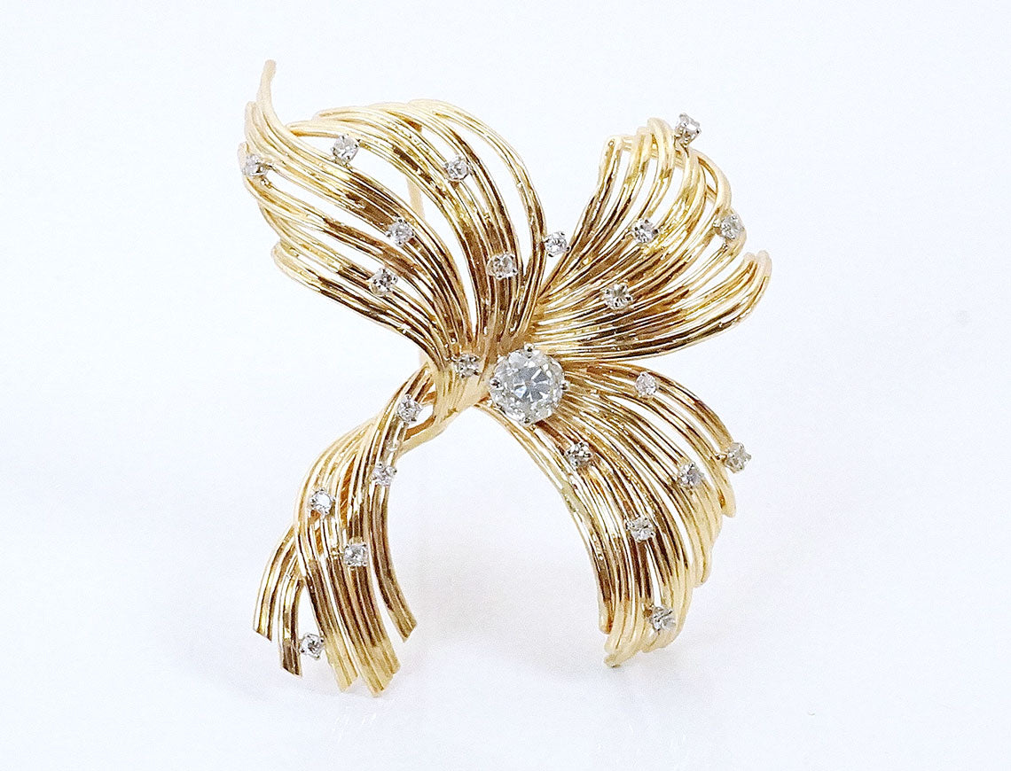 Handmade multi-wire diamond brooch