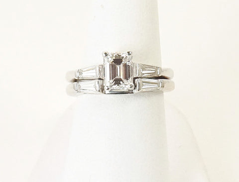 Custom wedding band for emerald cut ring