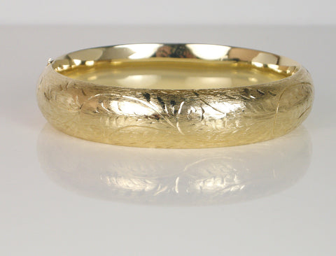 Classic hand engraved bangle bracelet