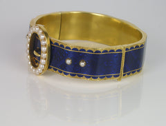 Blue Enamel Belt Bracelet