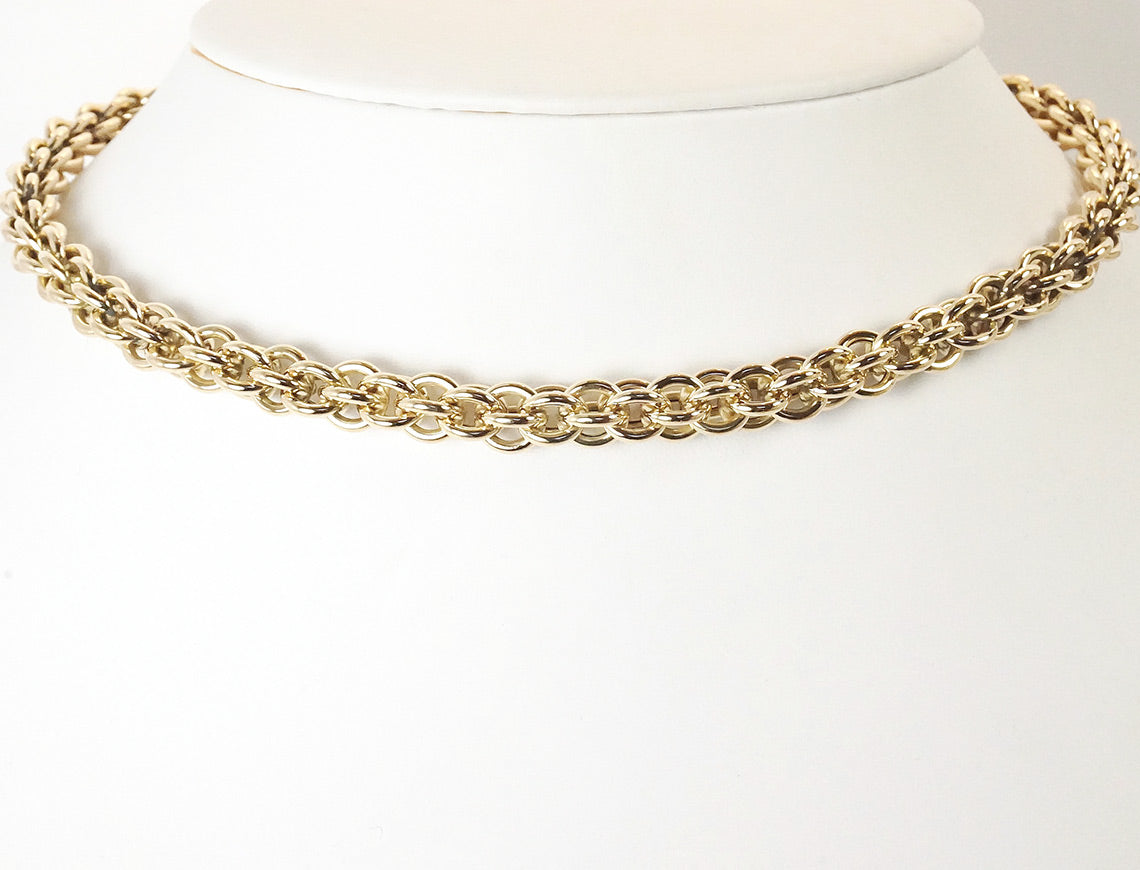 Cage link chain of 14K