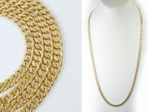 Solid curb chain in 12K gold