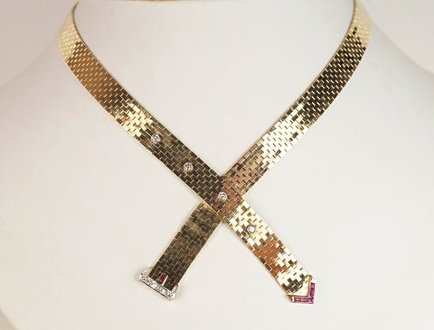 Ruby and diamond buckle necklace