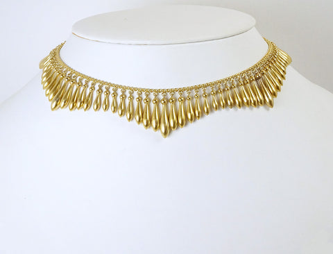 Etruscan revival fringe necklace