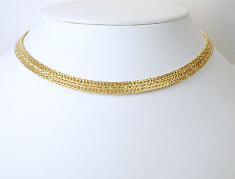 Wide gold choker