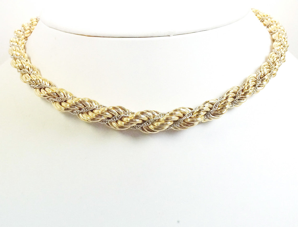 Yellow and white gold twist rope