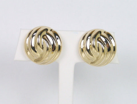 Round domed clip earrings