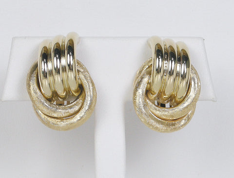 Polished and florentined clip earrings