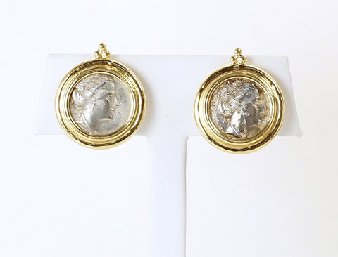Ancient coin earrings by Elizabeth Gage