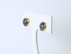 Hermes domed enamel button earstuds