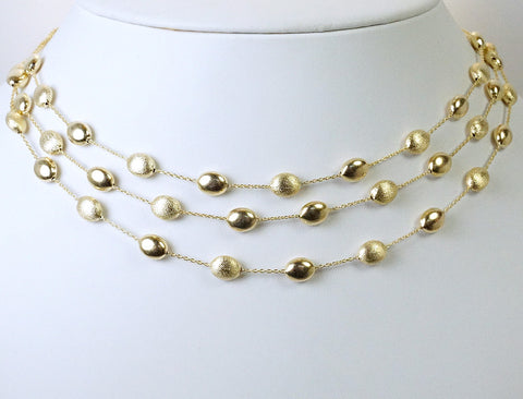 Triple strand pebble necklace