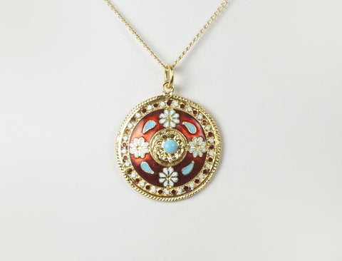 Colorful enamel pendant