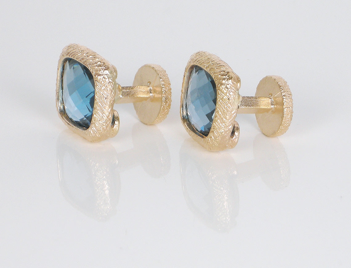 Blue topaz checkerboard cufflinks