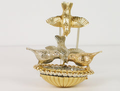 Gold Bird Bath Brooch