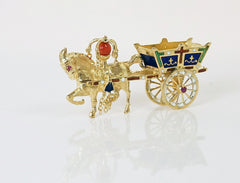Horse and circus wagon