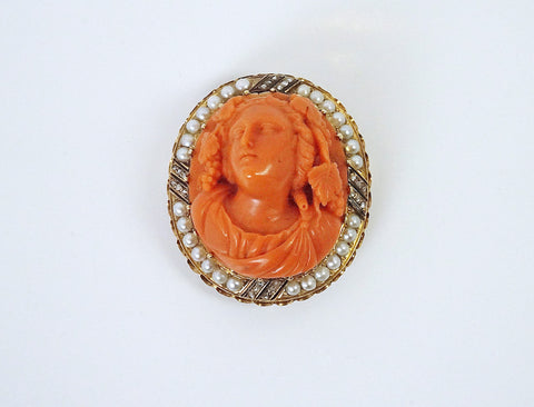 Hand-carved vintage coral Bacchus cameo
