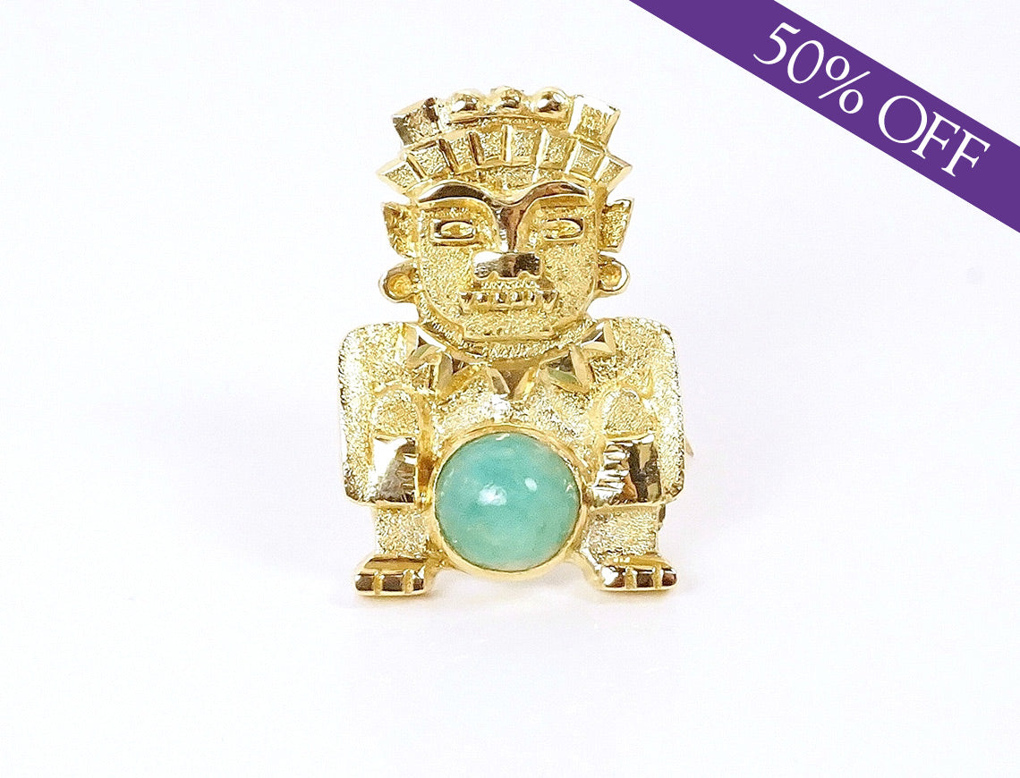 Aztec figure brooch with jade – ORIGINAL PRICE $675