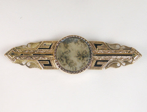 19th Century moss agate brooch