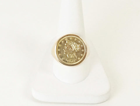 Coin ring with $2 ½ gold piece