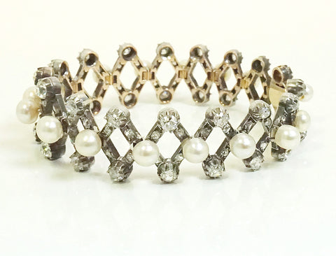 Victorian pearl and diamond gate bracelet