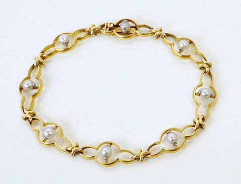 Art Nouveau bracelet with natural pearls