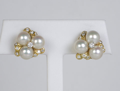 Pearl and diamond earclips