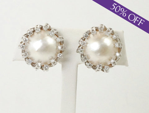 Mabe pearl and diamond earrings - ORIGINAL PRICE: $2500