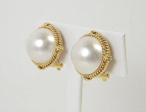 Mabe pearl clip earrings in rope frames