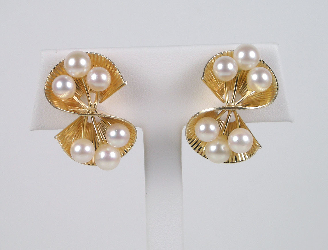 Mid-century pearl clips