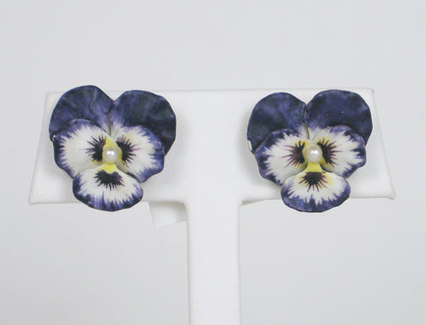 Vintage enamel pansy earrings