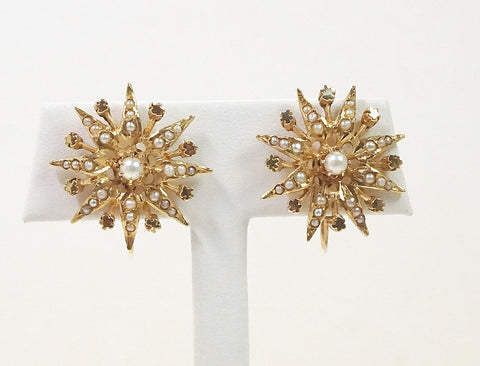 Victorian sunburst pearl earrings