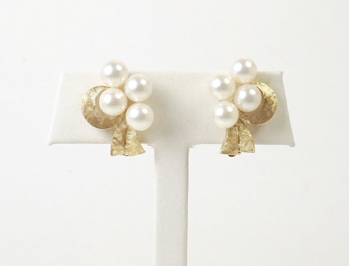 Vintage clip pearl earrings