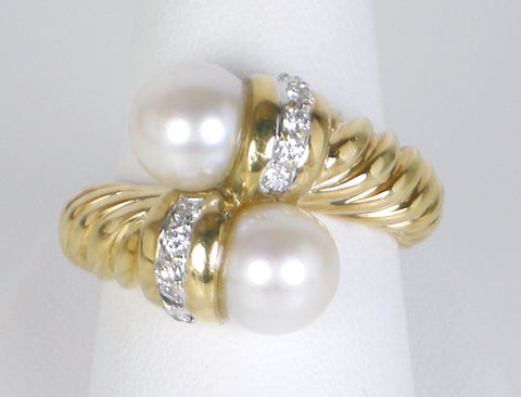 Pearl and diamond ring by David Yurman