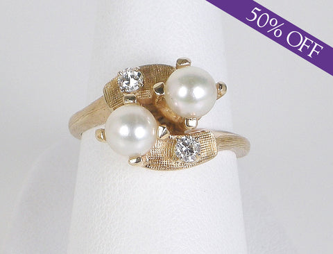 Pearl and diamond bypass ring - ORIGINAL PRICE $550