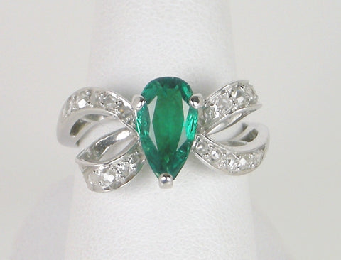 Dramatic emerald and diamond ring
