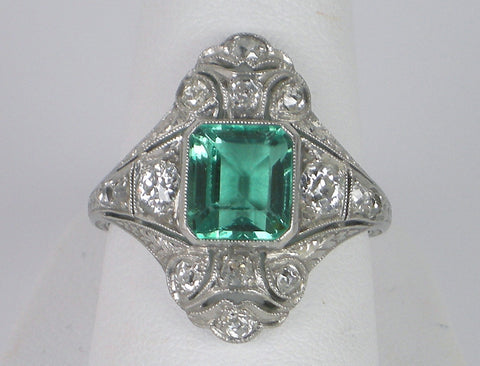 Edwardian Colombian emerald and diamond ring