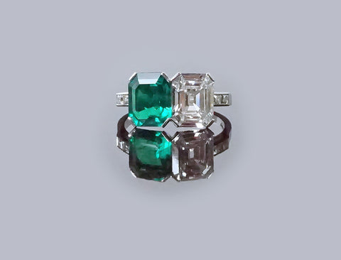 Outstanding emerald and diamond twin ring