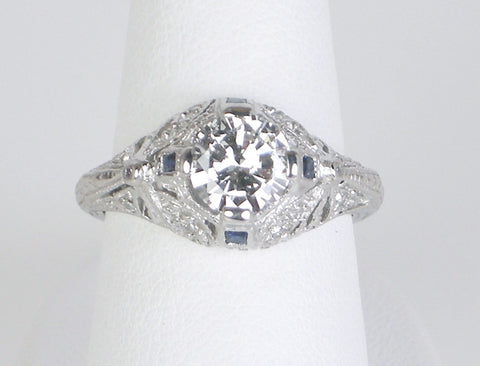 1.02 carat diamond in Edwardian style ring