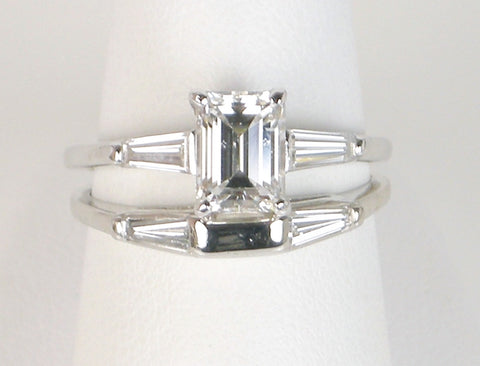 1.42 carat emerald cut wedding set
