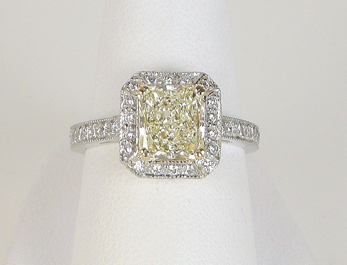 open gallery engagement a solitaire rings yellow enr in domed gold pave raidiant ring cut bezel set radiant diamond